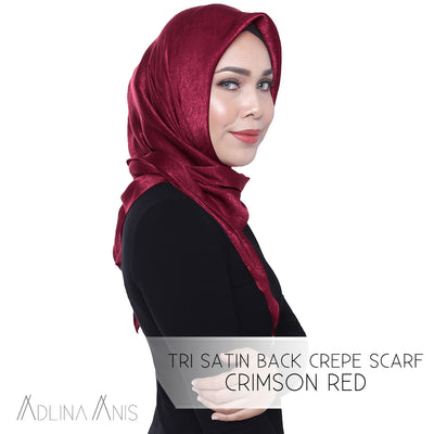 Tri Satin Back Crepe Scarf - Crimson Red