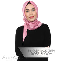 Tri Satin Back Crepe Scarf - Rose Bloom