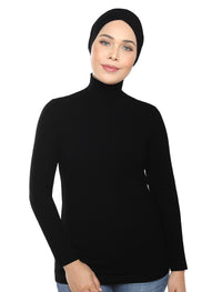 Turtleneck Basic Top - Black