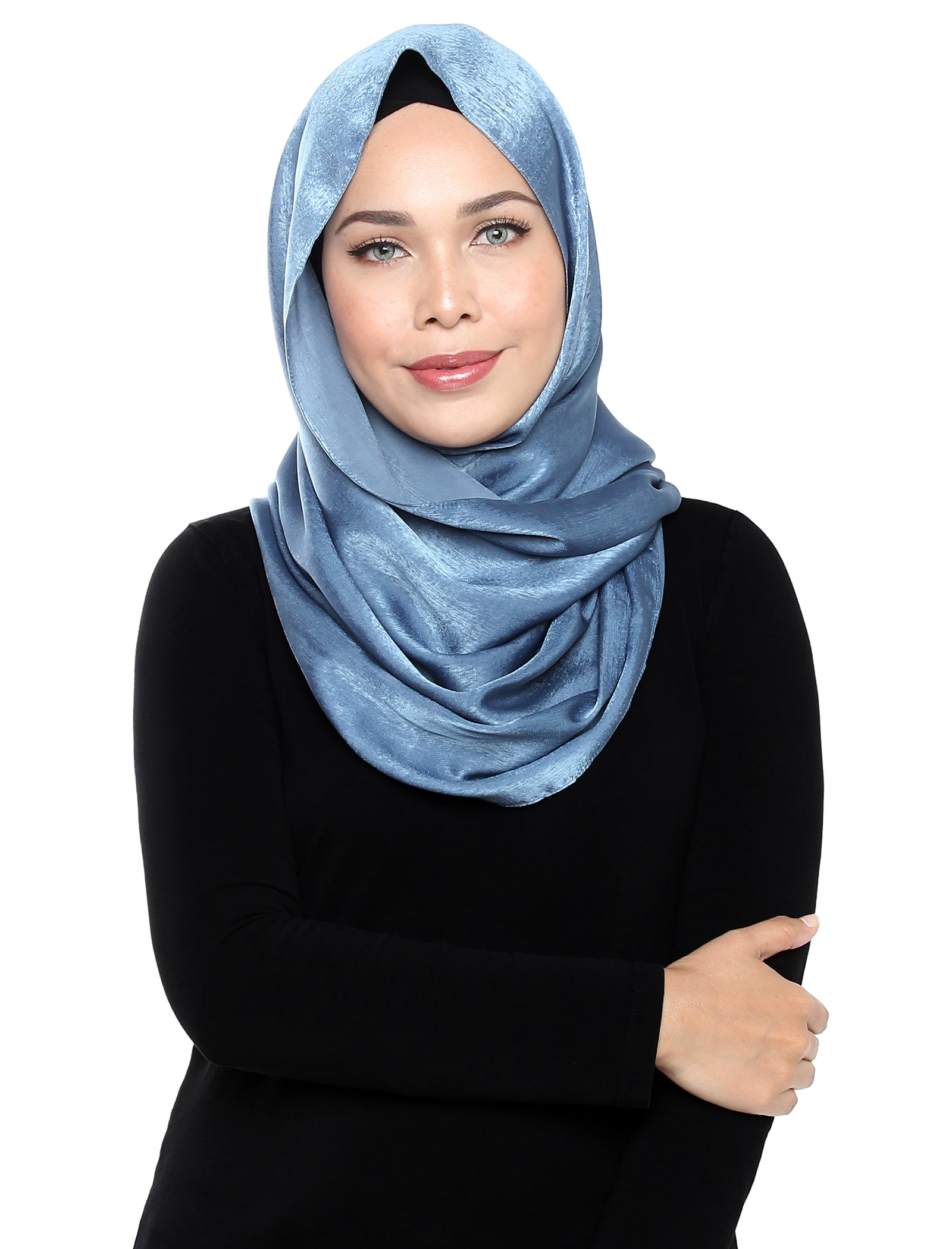 Velvet Satin Snood - Blue Ash