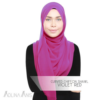 Adlina Anis - Curved Chiffon Shawl - Violet Red