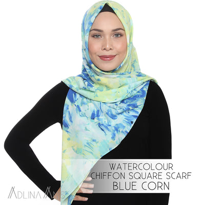 Watercolour Chiffon Square Scarf - Corn Blue