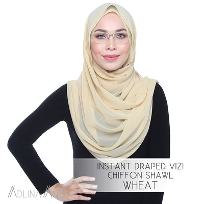 Instant Draped Vizi Chiffon Shawl - Wheat