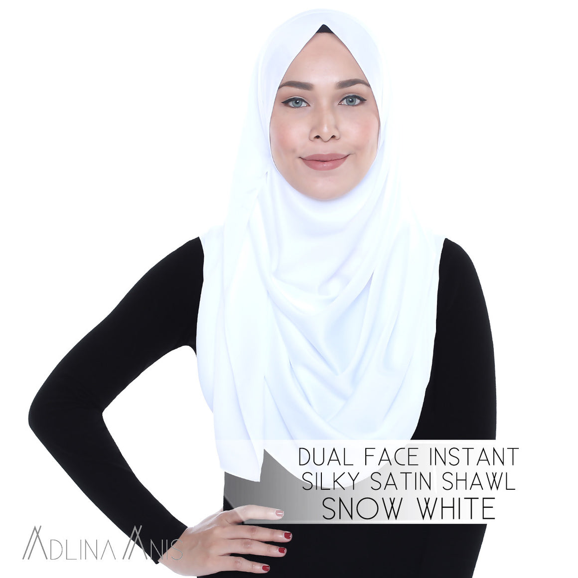 Dual Face Instant Silky Satin Shawl - Snow White