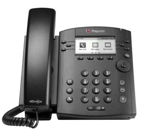 Polycom - VVX 310P VoIP SIP telephone, 2 x Gigabit Ethernet, 6 x line keys, PoE required, AC optional, 208x104 pixel backlit LCD, HD audio, RJ9 headset jack.