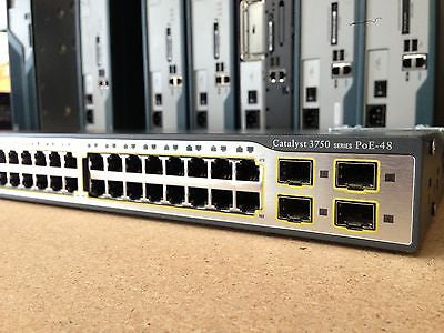 CISCO WS-C3750-48PS-S Stackable Ethernet POE Switch 48 Port