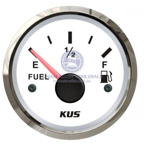 KUS Deluxe Fuel Tank Gauge 240-33 OHMS with Stainless Steel Bezel - Black or White