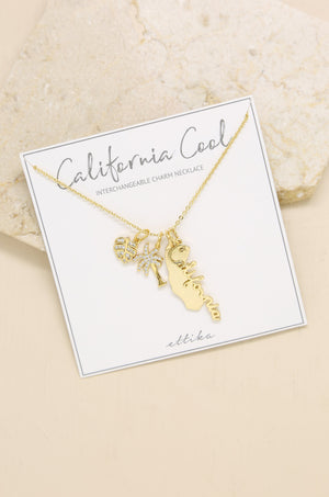 California Cool 18k Gold Plated  Charm Necklace