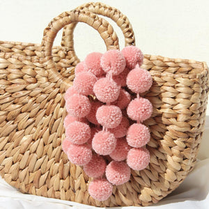 Pink Blush PomPom Straw Bag