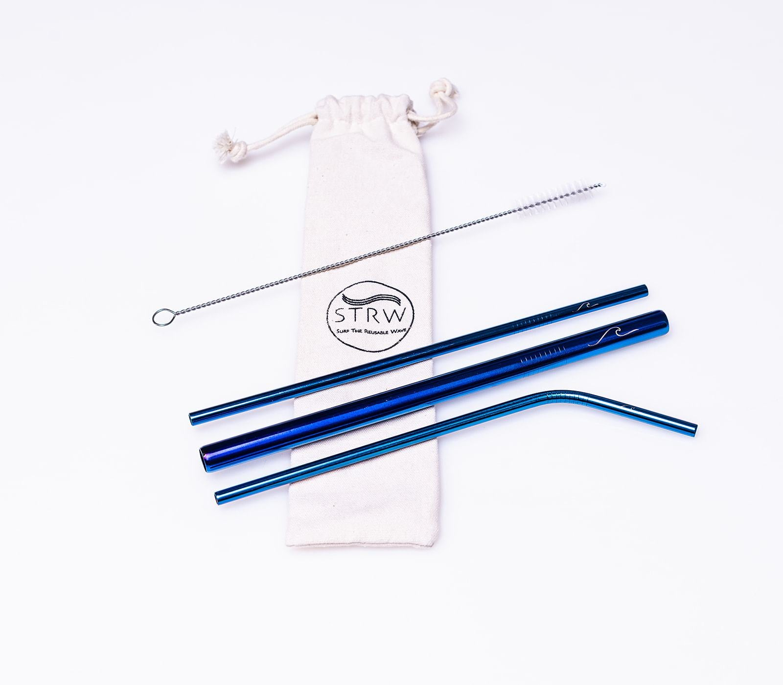 Reusable Steel Straw Variety 3-in-1 Pack