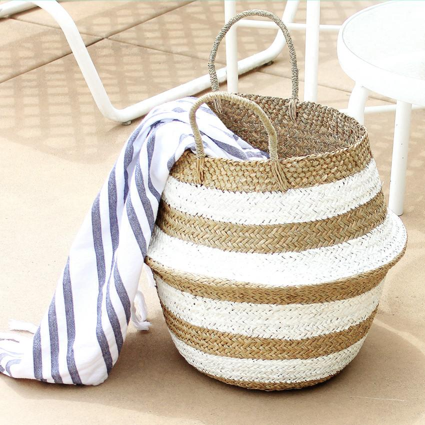 """Stripes Tribes"" Straw Basket Bag, in White"