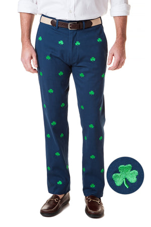 Harbor Pant Stretch Twill Nantucket Navy With Shamrock