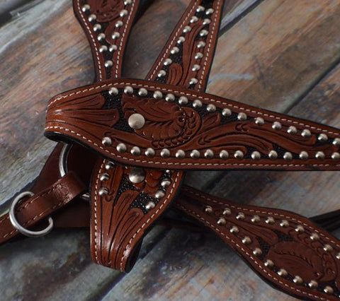 "15"", 16"" Double T  Barrel Style Saddle Set with Floral Tooling - 012"