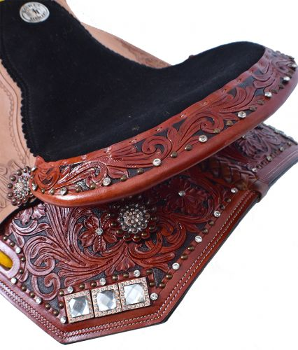 Double T Barrel Saddle Set with Floral Tooling - #013