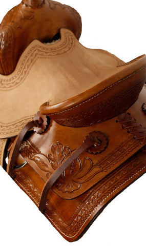 "10"" Double T  Pony Hard Seat Roper Style Saddle with Acorn Tooling - #10110"
