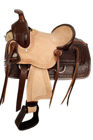 "12"" Double T Hard Seat Roper Style Saddle with Basket Weave Tooling - #10212"