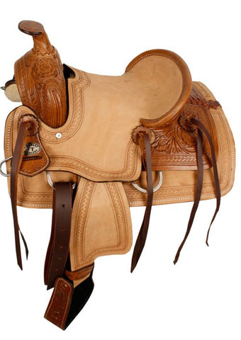 "12"" Double T Hard Seat Roper Style Saddle with Acorn Tooling - #10312"