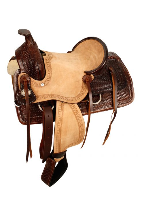 "13"" Double T Hard Seat Roper Style Saddle with Basket Weave Tooling - #10313"