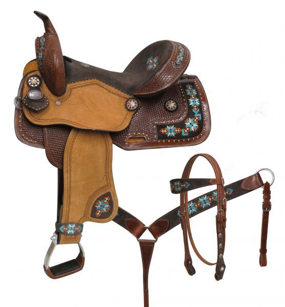 Double T Barrel Style Saddle Set With Embroidered Navajo - 15804