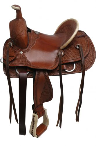 "12"", 13"" Double T hard seat roper style saddle with basket tooling - #15810"