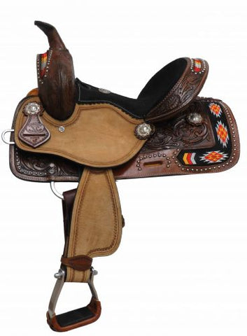 "12"" Double T Youth/Pony Embroidered Navajo Saddle - #1581312"