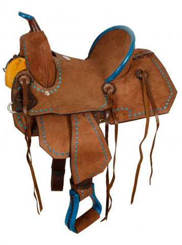 "10"" Double T Youth/Pony Chocolate Roughout Barrel Saddle - #1583310"