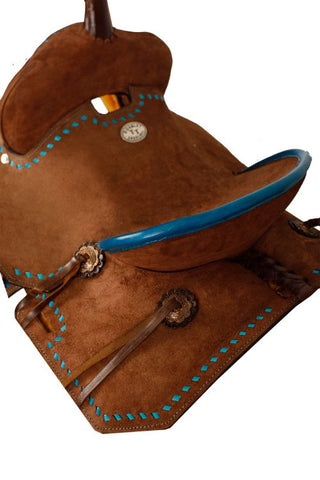 "12"" Double T Youth/Pony Chocolate Roughout Barrel Saddle with Buckstitch - #1583312"