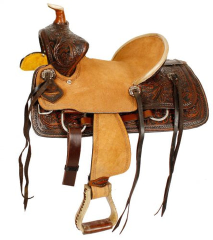 "12"", 13"" Double T  Youth Hard Seat Bear Trap Style Saddle - #15837"