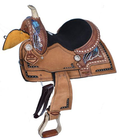 "12"" Double T  Youth Barrel Style Saddle with Hand Painted Feather Design - #1583812"