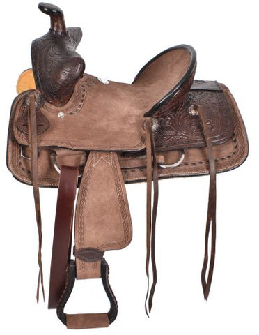 "12"", 13"" Double T  Youth Chocolate Brown Hard Seat Bear Trap Style Saddle - #15841"