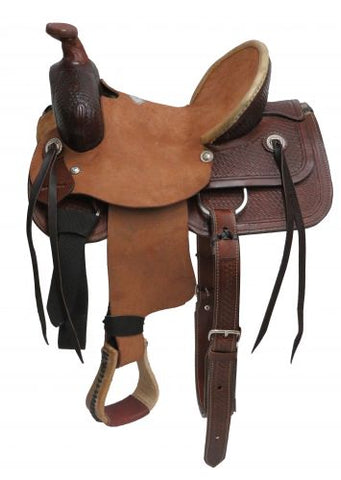 "13"" Buffalo Youth Hard Seat Roper Style Saddle - #16513"