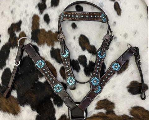Showman Beaded Headstall and Breast Collar Set