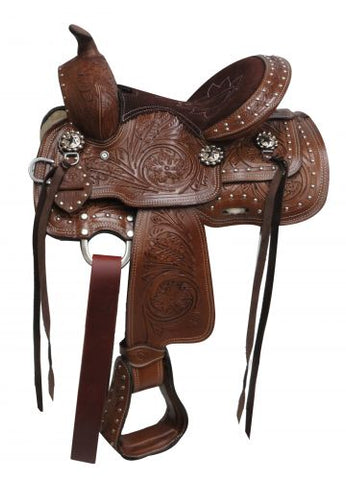 "10"" Double T  Youth saddle with floral tooling and silver studs - #263810"