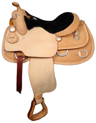 Premium Leather Double T training saddle with suede leather seat - 6415