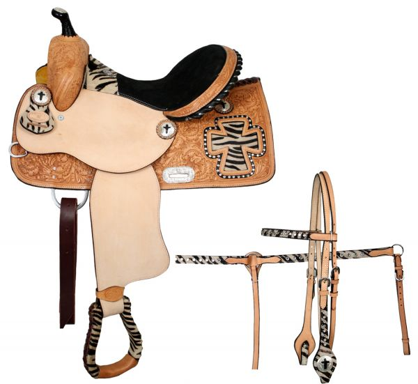 Double T Barrel Saddle With Half Colored Zebra Print Seat - #6440