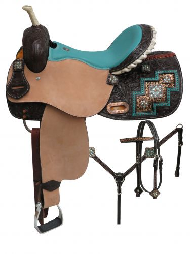 Double T Bejeweled Metallic Leopard Print Barrel Style Saddle Set - 6758