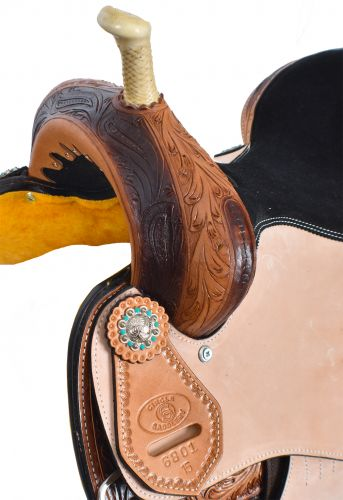 Circle S Barrel Style Saddle with Feather Concho Design -6801