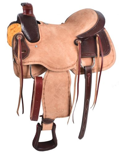 Circle S Roping Saddle with Basketweave Tooling - #6805