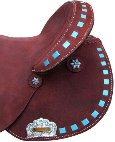 Circle S Barrel Style Saddle with Turquoise Buckstitch Trim - 6380