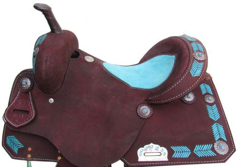 Circle S Barrel Style Saddle with Turquoise Leather Laced Arrow Trim - 6831