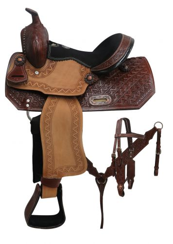 "12"" Double T Youth Barrel Style Saddle Set with Zigzag Tooling - #690512"