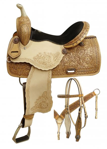 Double T Barrel Style Saddle w/ Rainbow Crystal Rhinestones - 7861