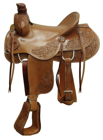 "16"" Circle S Hard Seat Roper Saddle With Floral Tooling - 660616"