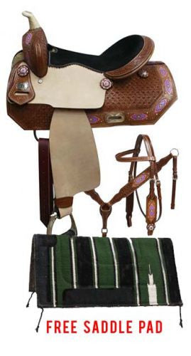 Double T Barrel Saddle Package Set With Painted Navajo Diamond Design - 7801P