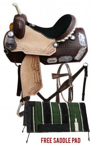 Double T Barrel Style Saddle Package Set With Silver Feather Inlay On Skirts - 6632P