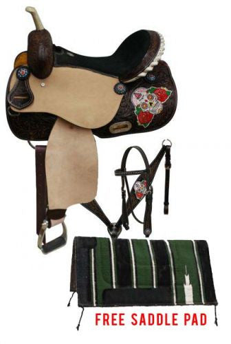 Double T Barrel Style Saddle Package Set With Sugar Skull Design - 6687P