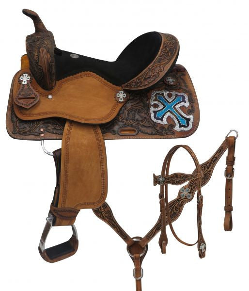 Double T Barrel Style Saddle Set With Metallic Cross - 15805