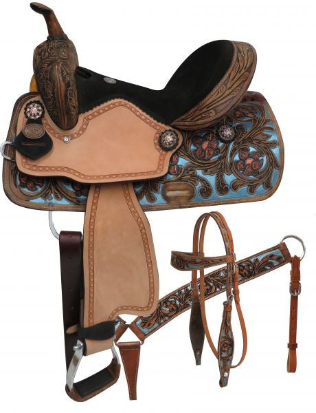 Double T Barrel Style Saddle Set With Metallic Painted Tooling - 15802