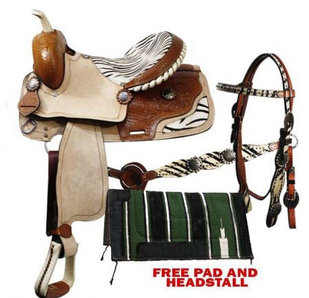 Double T Barrel Style Saddle With Headstall And Breast Collar - 01016P