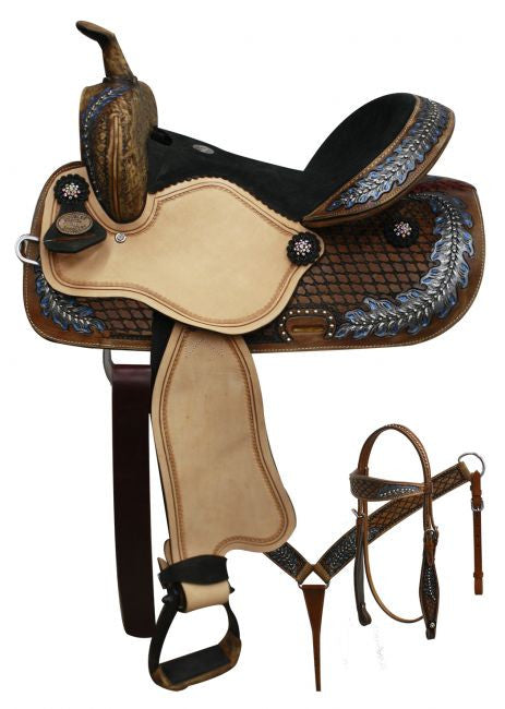 Double T Barrel Style Saddle With Oak Leaf - 15801